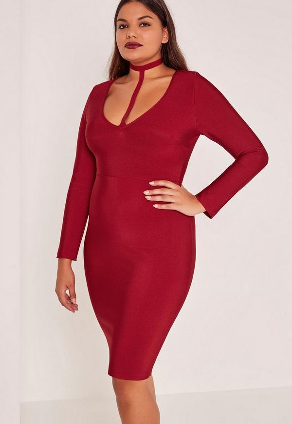 Red Plus Size Harness Neck Bandage Bodycon Dress
