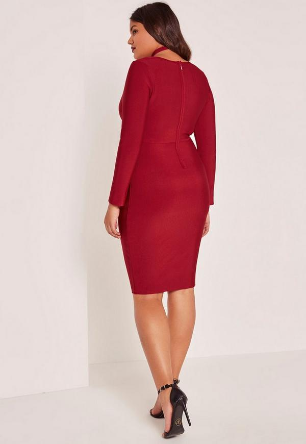 Red Plus Size Harness Neck Bandage Bodycon Dress Missguided
