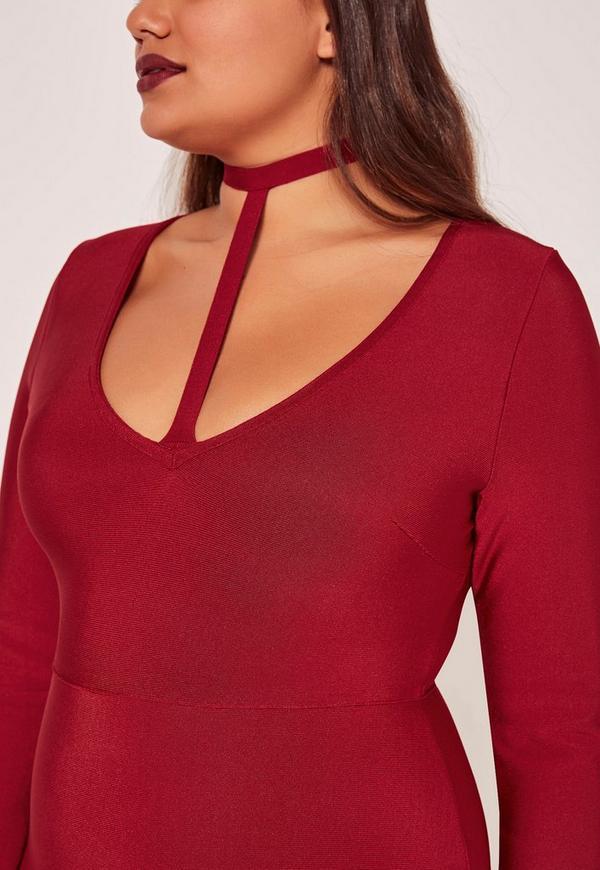 Red bandage dress plus size