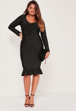 Plus Size Fishtail Bandage Midi Dress Black