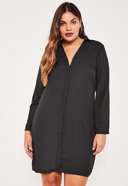 Plus Size Black Half Placket Shirt Dress