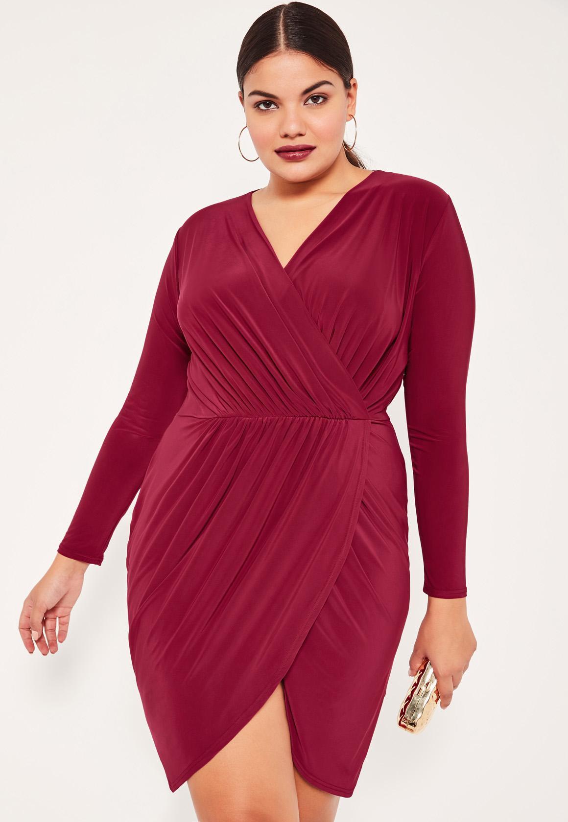 plus size burgundy slinky wrap dress | missguided