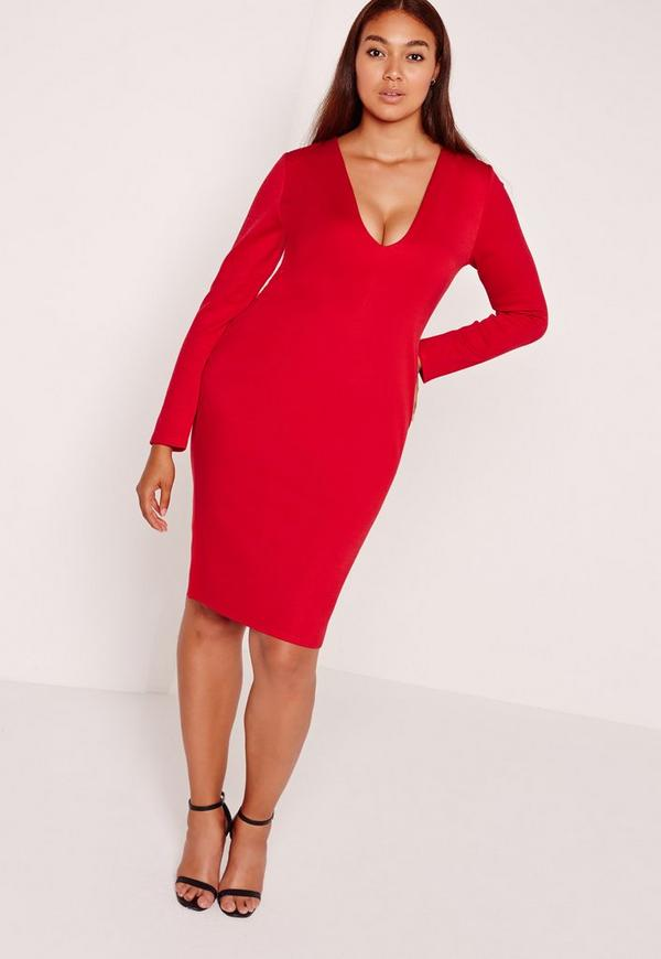 Plus Size Ponte Long Sleeve Midi Dress Red