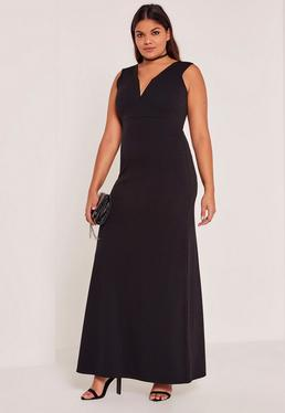 Black Plus Size V-Neck Plunge Maxi Dress