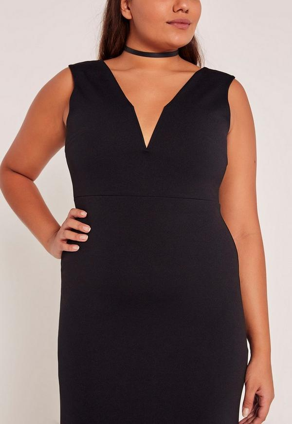 Black Plus Size V-Neck Plunge Maxi Dress | Missguided