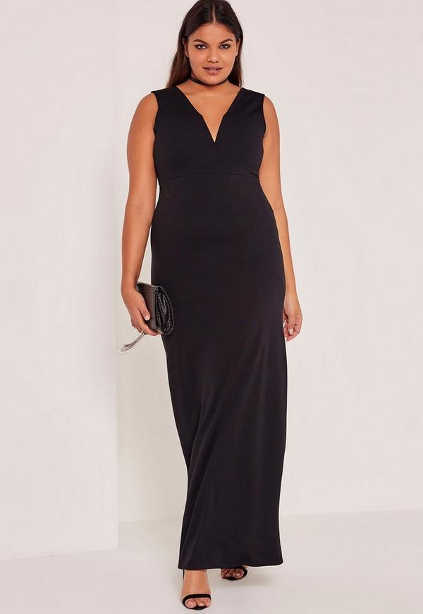 Black Plus Size V-Neck Plunge Maxi Dress | Missguided