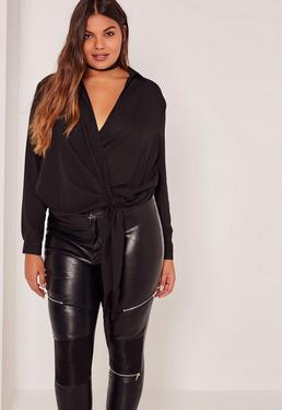 Plus Size Black Wrap Tie Side Blouse
