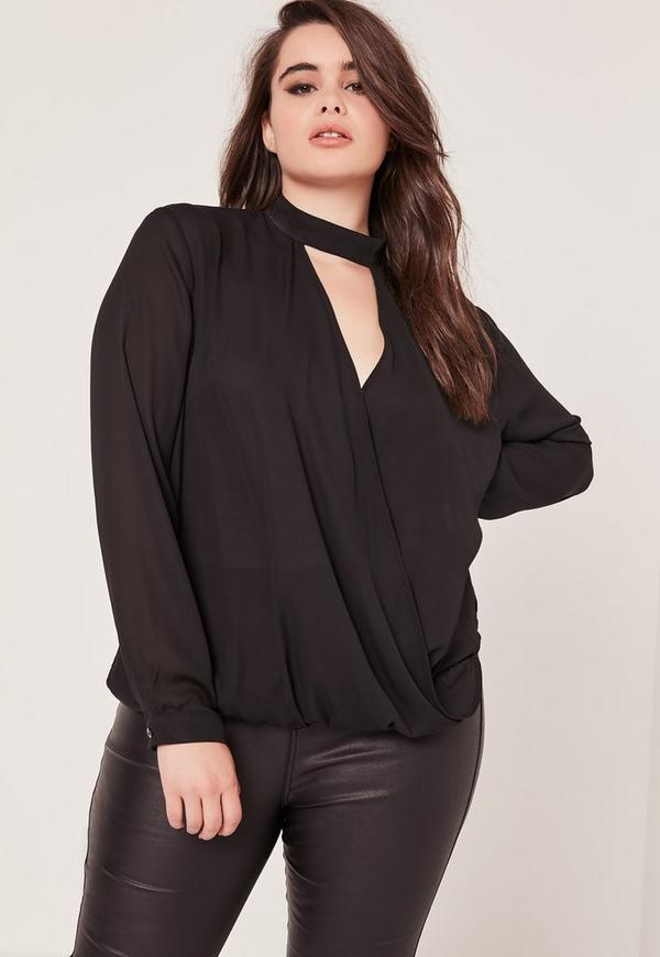 Plus Size Choker Wrap Blouse Black
