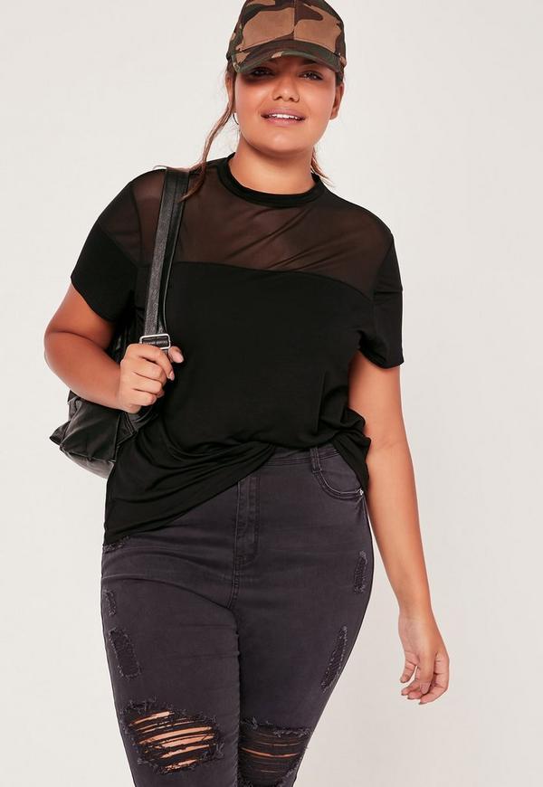 Plus Size Mesh Insert T-Shirt Black