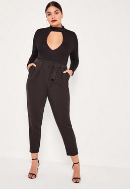 Plus Size Black Pleated Waist Cigarette Pants