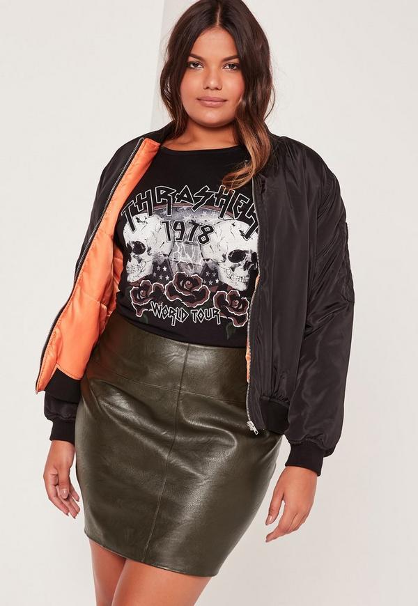 Plus Size Faux Leather Mini Skirt Khaki