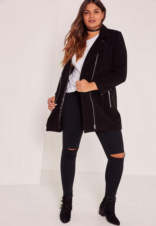 Plus Size Black Faux Wool Biker Coat