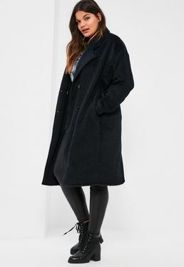 Plus Size Navy Cocoon Double Breasted Faux Wool Coat