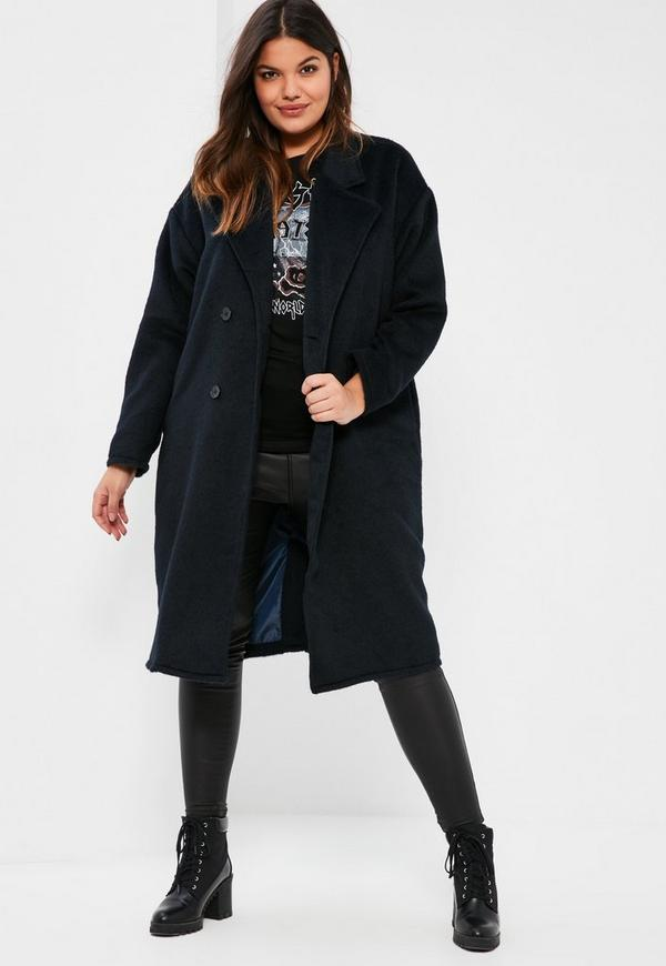 Plus Size Navy Cocoon Double Breasted Faux Wool Coat | Missguided