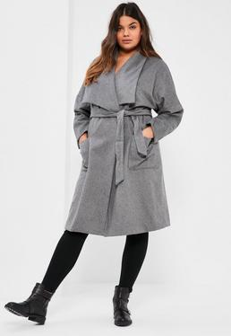 Plus Size Grey Brushed Waterfall Coat