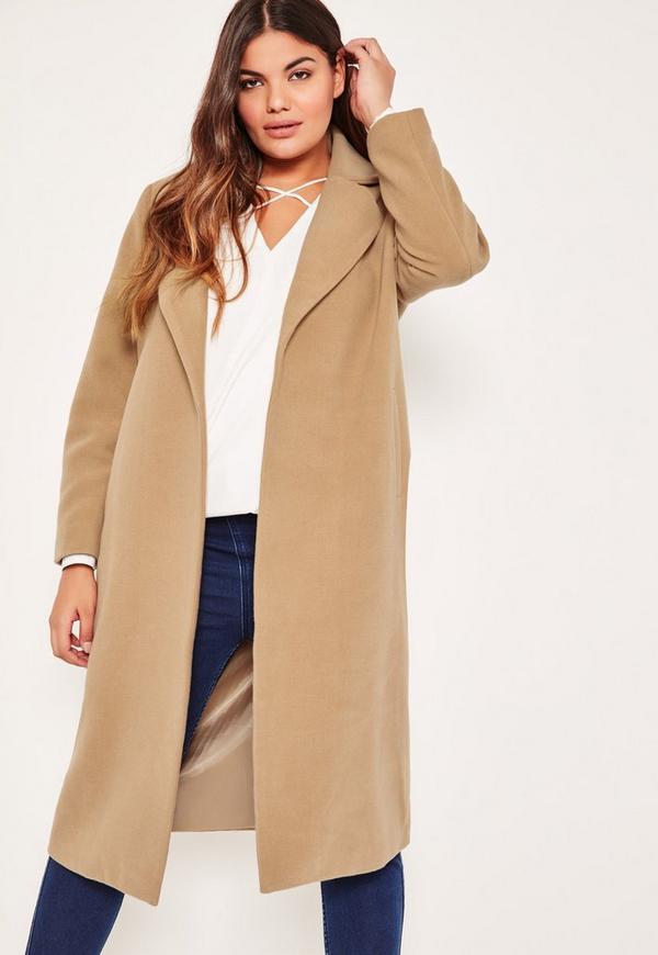 Plus Size Camel Longline Faux Wool Duster Coat