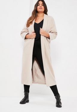 Szary długi wełniany płaszcz Plus Size