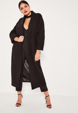 Plus Size Black Shawl Collar Faux Wool Maxi Coat