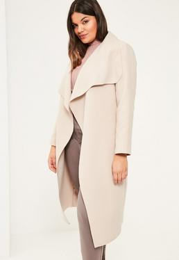 Beżowy luźny płaszcz Plus Size