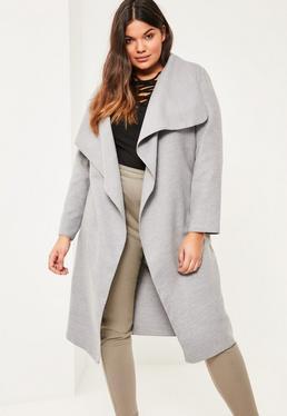 Plus Size Grey Oversized Waterfall Duster Coat