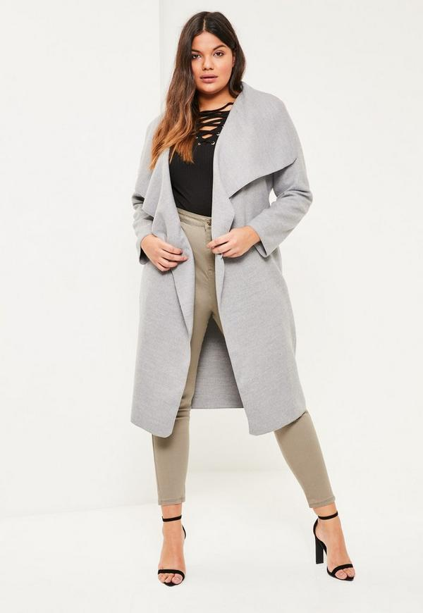 Plus Size Grey Oversized Waterfall Duster Coat | Missguided