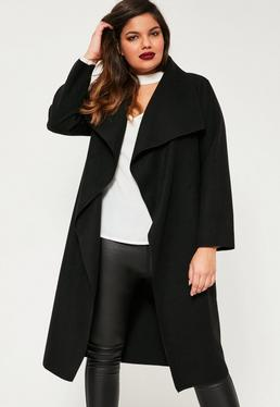 Plus Size Black Waterfall Oversized Duster Coat