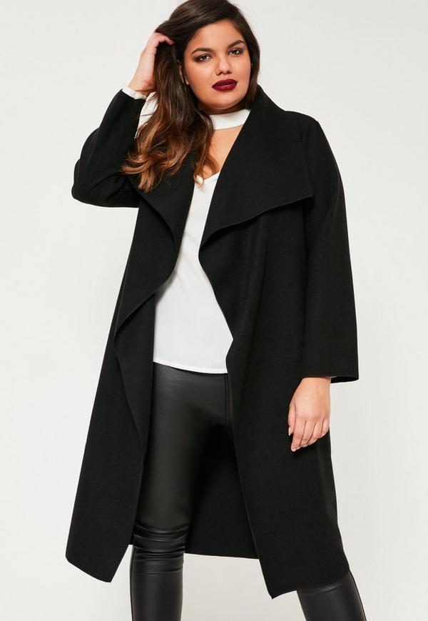 Plus Size Black Waterfall Oversized Duster Coat