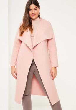 Plus Oversize Duster Mantel in Großer Größe mit Wasserfall-Ausschnitt in Rosa