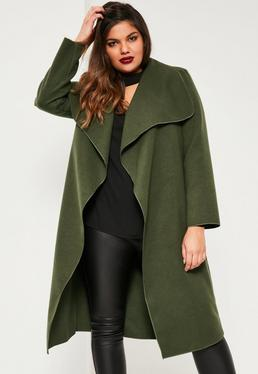 Plus Size Khaki Waterfall Oversized Duster Coat