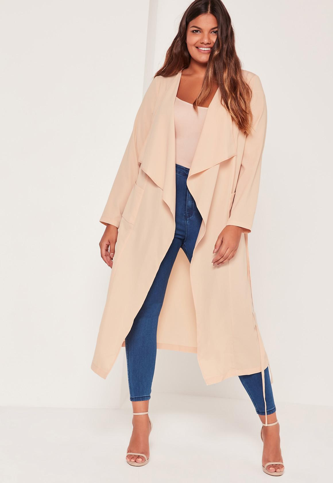 Plus Size Waterfall Duster Jacket Nude | Missguided