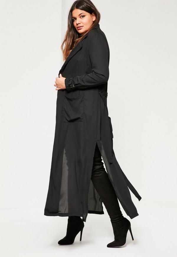 Plus Size Black Belted Chiffon Maxi Duster
