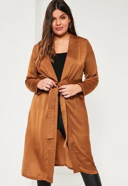 Plus Size Brown Satin Belted Duster