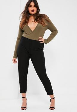 Plus Size Black Soft Touch Tie Waist Joggers