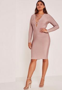 Purple Plus Size Lace Up Bandage Midi Dress