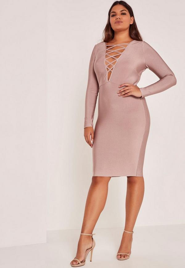 Purple Plus Size Lace Up Bandage Midi Dress