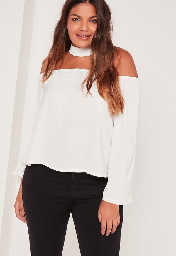 Plus Size Choker neck Bardot Blouse White