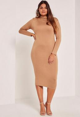 Camel Plus Size High Neck Jersey Midi Dress