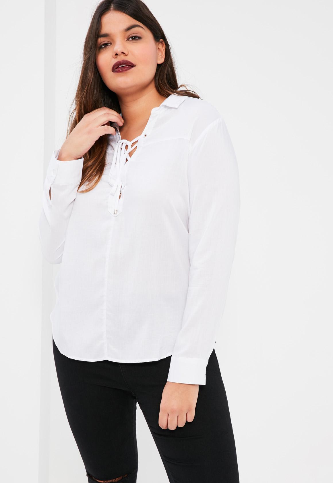 ad906fabd5e9e Mandarin Collar Blouse Plus Size