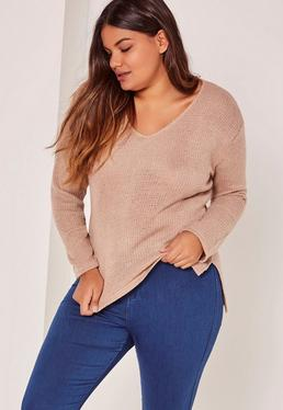Pull tricoté vieux rose grande taille