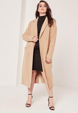 Plus Size Double Breasted Faux Wool Coat Camel