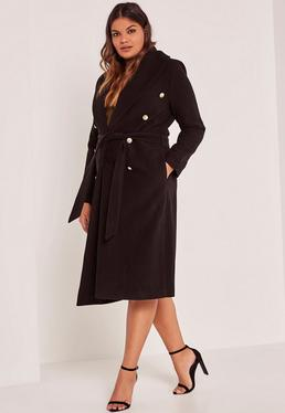 Black Plus Size Belted Faux Wool Coat