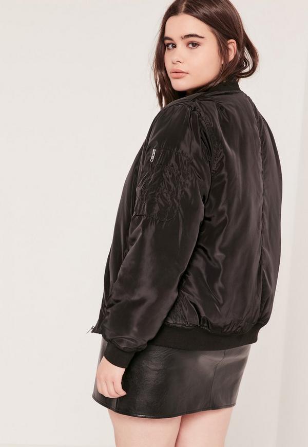 Plus Size Bomber Jacket Black