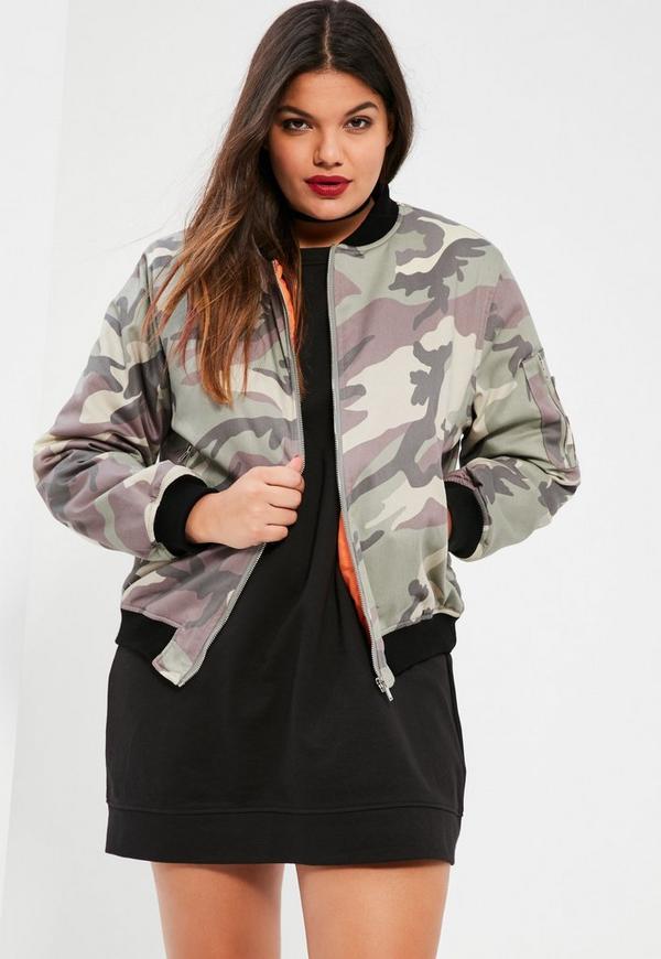 Plus Size Khaki Faded Camo Bomber Jacket