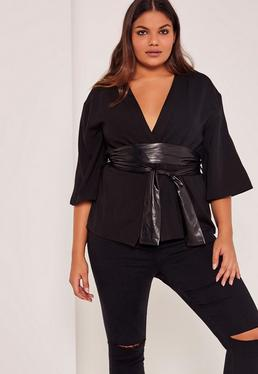 Black Plus Size Faux Leather Belted Kimono Blazer