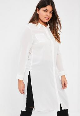 Plus Size White Crepe Maxi Shirt