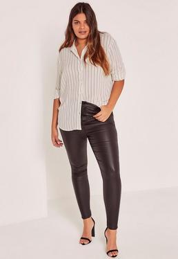 Plus Size White Striped Shirt