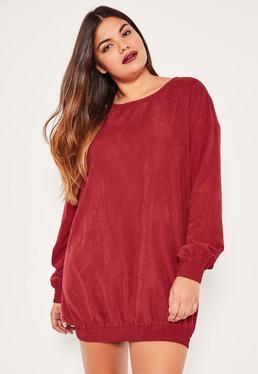 Plus Size Burgundy Elasticated Hem Mini Dress