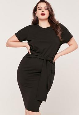 Plus size tie waist T shirt Dress Black