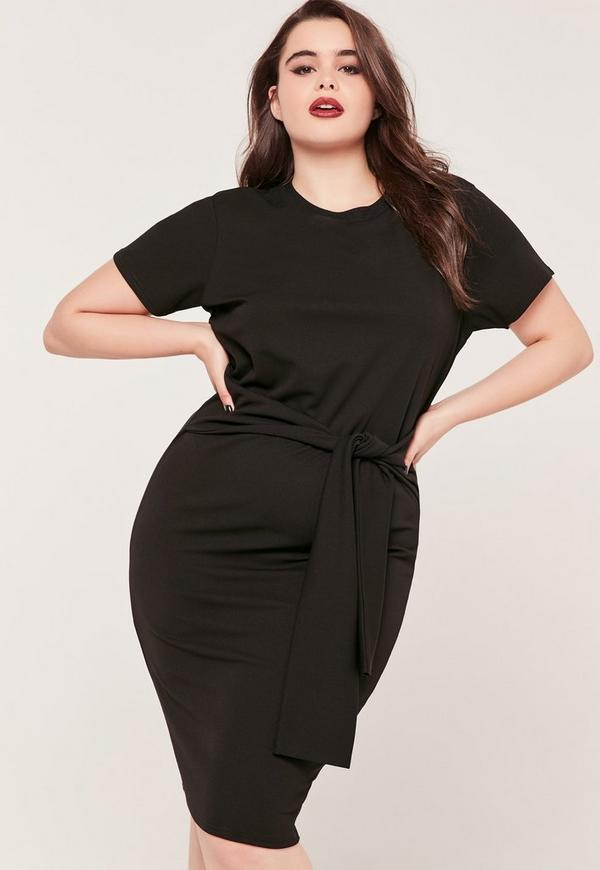 Plus size tie waist T shirt Dress Black