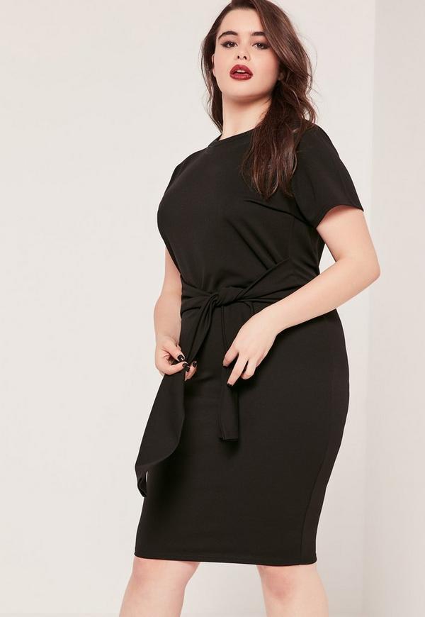 Plus Size Tie Waist T Shirt Dress Black Missguided
